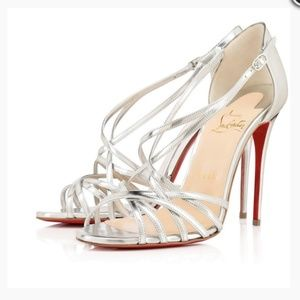 New Christian Louboutin Silver Strappy Heels